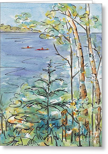 Cerulean Greeting Cards - Kayaks On The Lake Greeting Card by Pat Katz