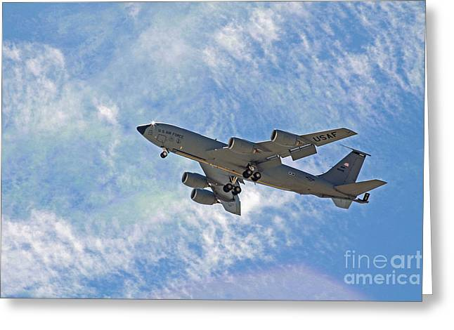 Kenny Powers Greeting Cards - KC-135 with Clouds Greeting Card by Kenny Bosak