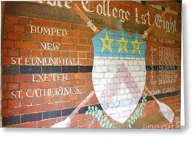 Exeter Hall Greeting Cards - Keble College 2007 Rowing Standings Greeting Card by Anne Gordon