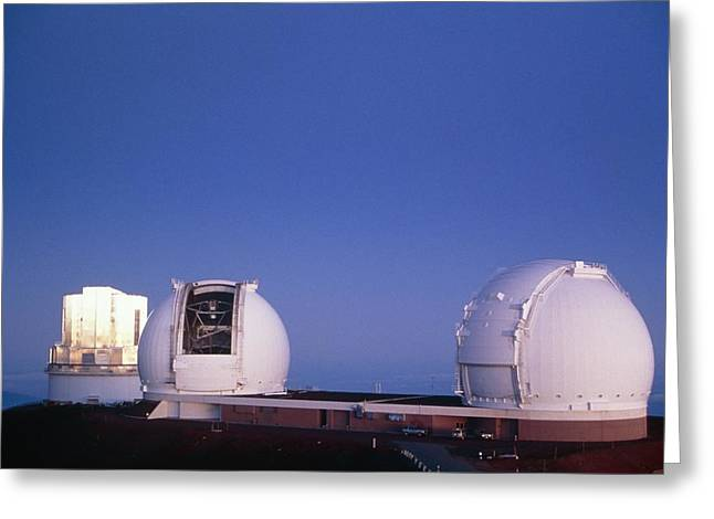 Telescope Dome Greeting Cards - Keck Telescope Domes Greeting Card by G. Brad Lewis