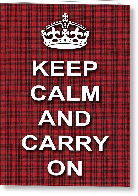 Keep Calm And Carry On Digital Art Greeting Cards - Keep Calm And Carry On Poster Print Red Black Stripes Background Greeting Card by Keith Webber Jr