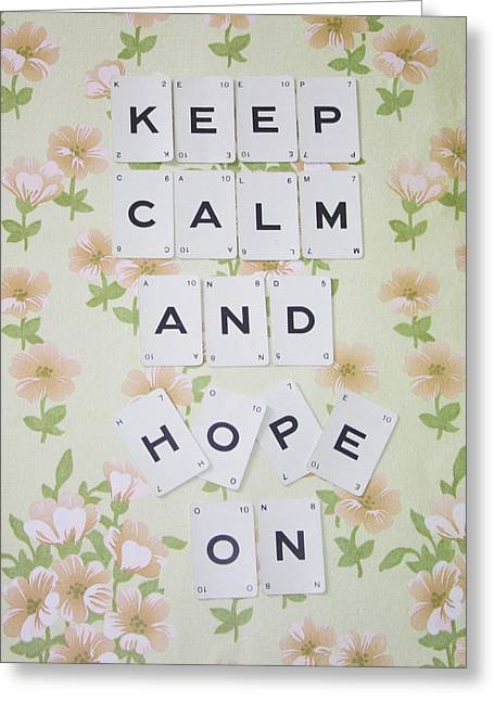 Scrabble Greeting Cards - Keep Calm and Hope On Greeting Card by Nomad Art And  Design