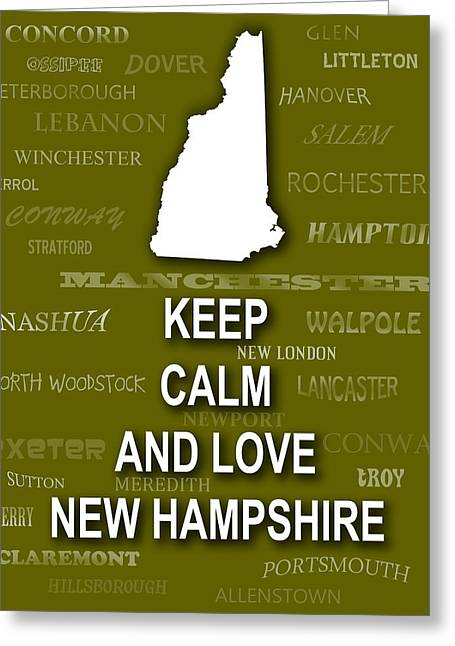 Olive Green Greeting Cards - Keep Calm and Love New Hampshire State Map City Typography Greeting Card by Keith Webber Jr
