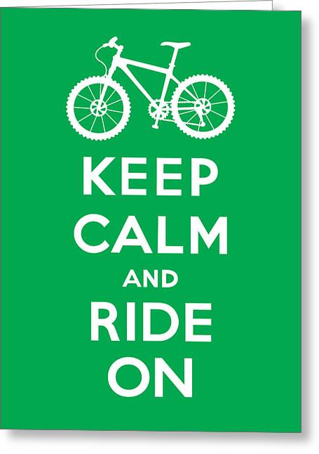 Clunker Greeting Cards - Keep Calm and Ride On - Mountain Bike - green Greeting Card by Andi Bird