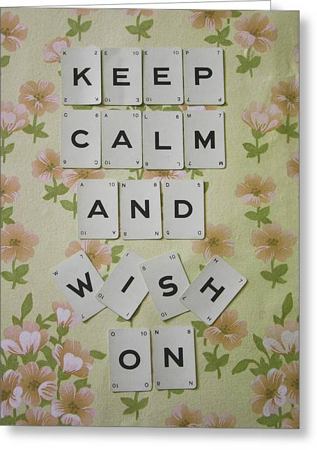 Scrabble Greeting Cards - Keep Calm and Wish On Greeting Card by Nomad Art And  Design