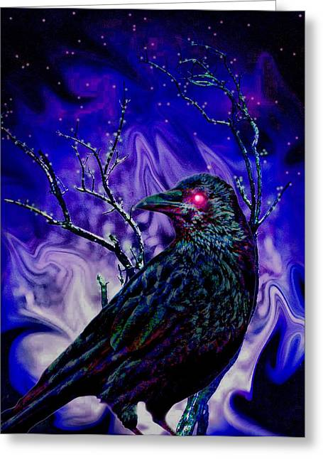 Ravens Greeting Cards - Keeper of the Crow Night Watch Greeting Card by Tisha McGee