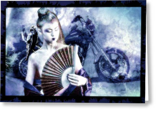 Ravens Greeting Cards - Keeper of the Crow Series Fire and Ice Blue Greeting Card by Tisha McGee