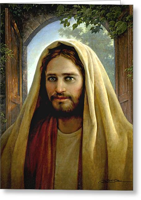 Religious Paintings Greeting Cards - Keeper of the Gate Greeting Card by Greg Olsen