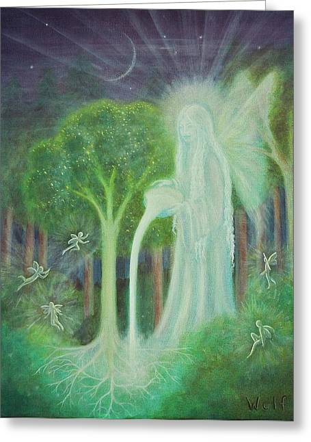 Night Angel Greeting Cards - Keeper of the Trees Greeting Card by Bernadette Wulf