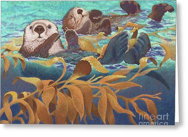 Best Sellers -  - Ocean Mammals Greeting Cards - Keepers of the Kelp Greeting Card by Tracy L Teeter