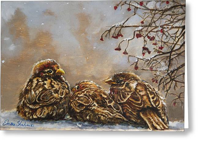 Nature Scene Paintings Greeting Cards - Keeping Company Greeting Card by Enzie Shahmiri