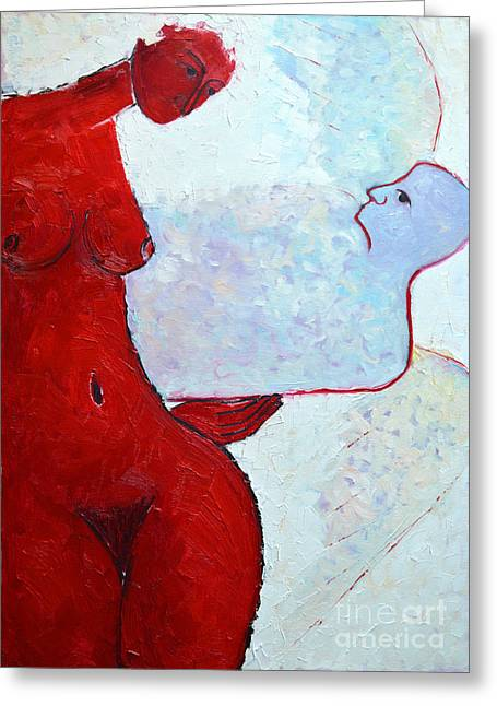 Abstract Expression Greeting Cards - Keeping Her Guardian Angel In Her Hand Greeting Card by Ana Maria Edulescu