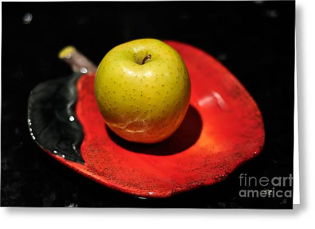 Yellow Apples Greeting Cards - Keeping The Doctor Away Greeting Card by Lois Bryan