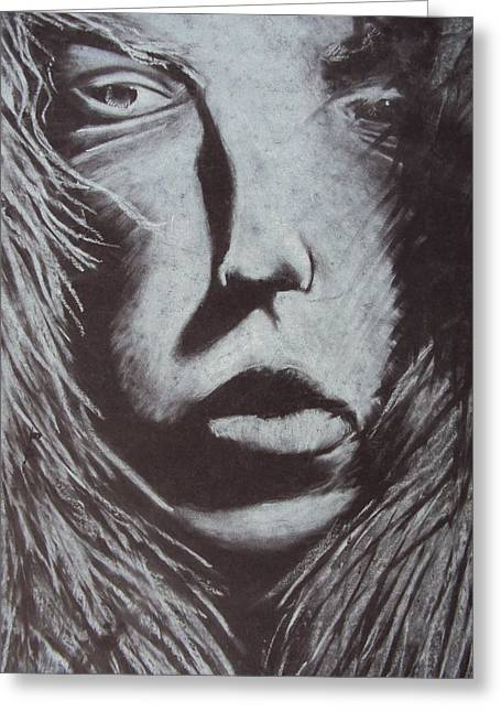 Sepia Chalk Greeting Cards - Winter Woman Greeting Card by Casey P