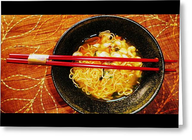 Noodles Greeting Cards - Keeping Warm Greeting Card by The Creative Minds Art and Photography