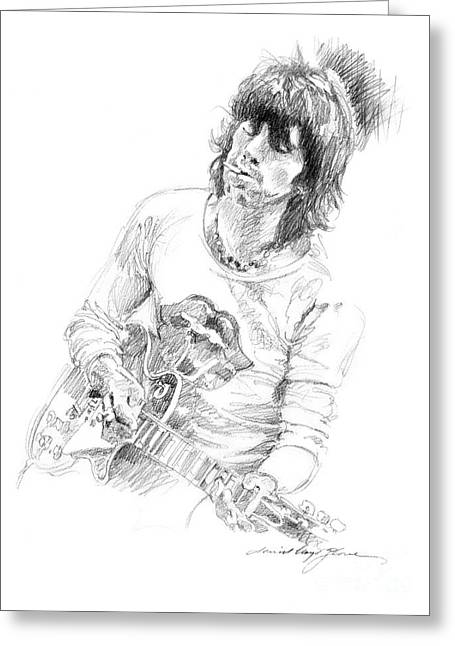 Les Paul Greeting Cards - Keith Richards Exile Greeting Card by David Lloyd Glover