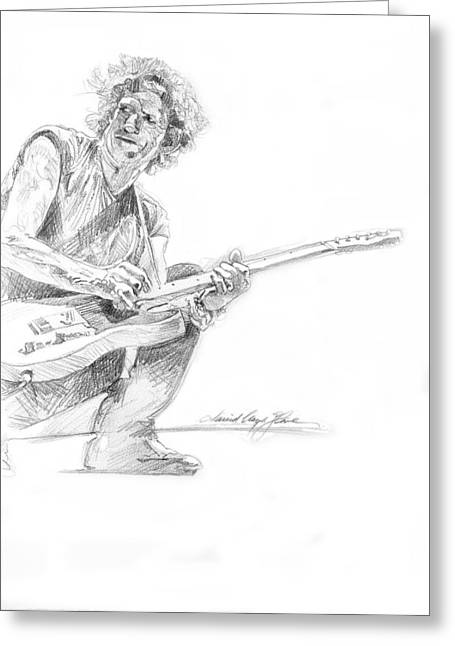 Most Favorite Drawings Greeting Cards - Keith Richards  Fender Telecaster Greeting Card by David Lloyd Glover