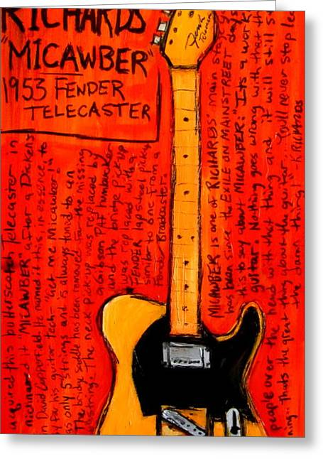 Iconic Guitar Greeting Cards - Keith Richards Micawber Greeting Card by Karl Haglund
