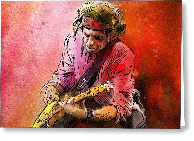 Rolling Stones Mixed Media Greeting Cards - Keith Richards Greeting Card by Miki De Goodaboom
