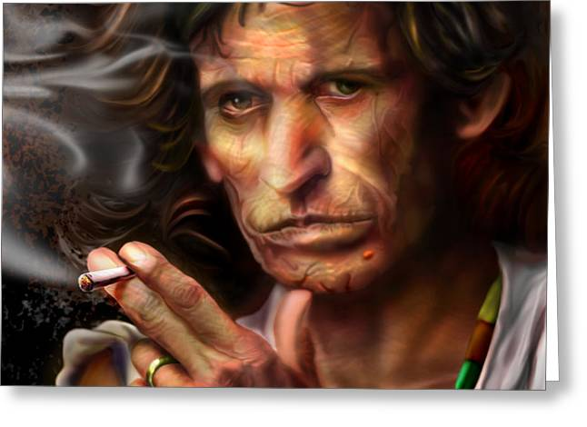 Keith Richards1-Burning lights 4 Greeting Card by Reggie Duffie
