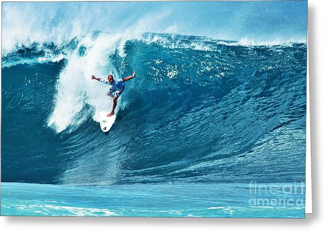 Kelly Slater Greeting Cards - Kelly Slater at Pipeline Masters Contest Greeting Card by Paul Topp
