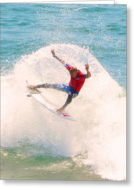 Kelly Slater Greeting Cards - Kelly Slater US Open of Surfing 2012   2 Greeting Card by Jason Waugh