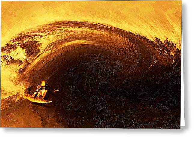 Surfing Contest Greeting Cards - Kellys Wild Ride Greeting Card by Ron Regalado