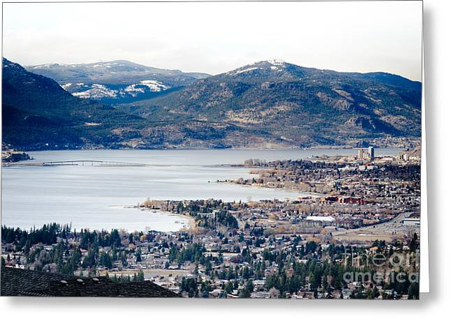 British Greeting Cards - KELOWNA WINTER view across the lake and bridge Greeting Card by Andy Smy