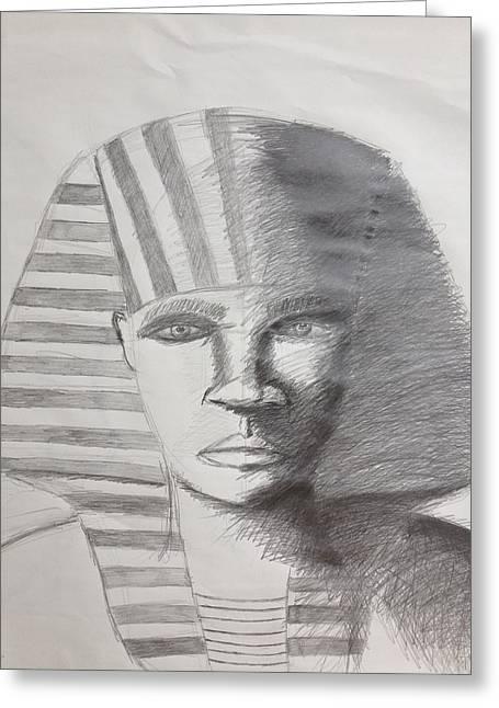 Horus Drawings Greeting Cards - Kemetic Man  Greeting Card by Brandon King