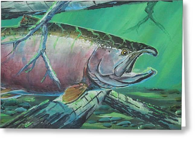 Salmon Paintings Greeting Cards - Kenai King Greeting Card by Scott Thompson
