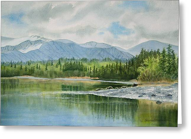 Landing Paintings Greeting Cards - Kenai Lake Early Morning Spring Greeting Card by Sharon Freeman