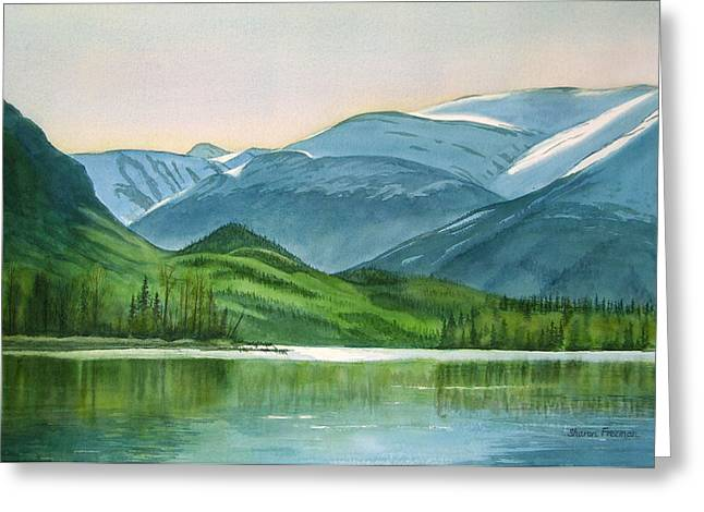 Landing Paintings Greeting Cards - Kenai Lake Reflections Greeting Card by Sharon Freeman