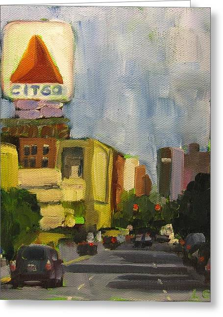 Kenmore Square Greeting Card by Laurie G Miller