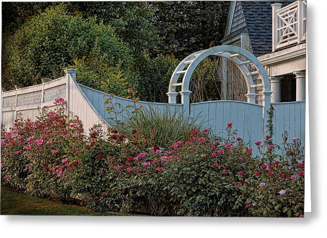 Trellis Greeting Cards - Kennedy Cottage Roses Greeting Card by Robin-lee Vieira