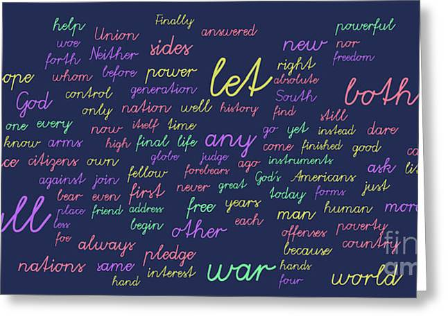 Inauguration Greeting Cards - Kennedy Inauguration and Lincolns Second - Word Cloud Greeting Card by David Bearden