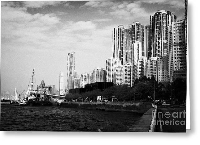 Sea View Greeting Cards - Kennedy Town Waterfront And Harbour New Praya Hong Kong Hksar China Asia Greeting Card by Joe Fox