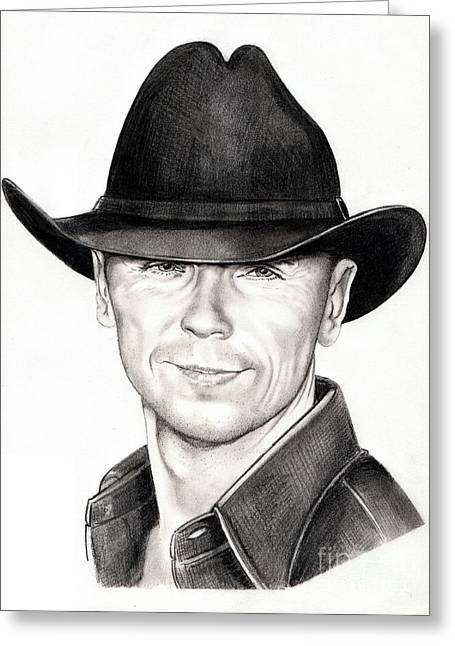Countries Drawings Greeting Cards - Kenny Chesney Greeting Card by Murphy Elliott