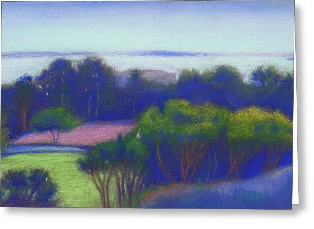 Bay Bridge Pastels Greeting Cards - Kensington Blue View Greeting Card by Linda Ruiz-Lozito