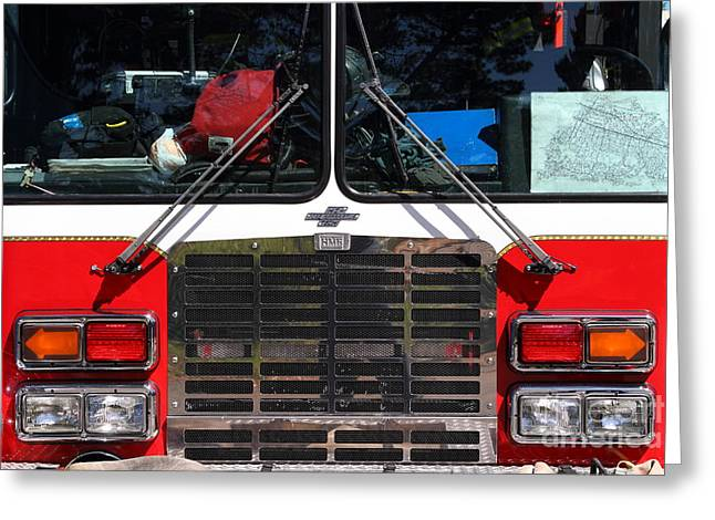 Kensington Greeting Cards - Kensington Fire District Fire Engine . 7D15861 Greeting Card by Wingsdomain Art and Photography