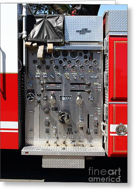 Knob Greeting Cards - Kensington Fire District Fire Engine Control Panel . 7D15856 Greeting Card by Wingsdomain Art and Photography