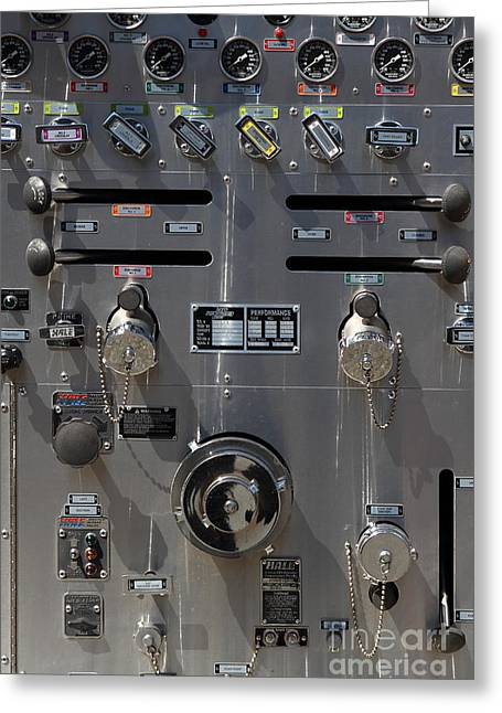 Knob Greeting Cards - Kensington Fire District Fire Engine Control Panel . 7D15857 Greeting Card by Wingsdomain Art and Photography