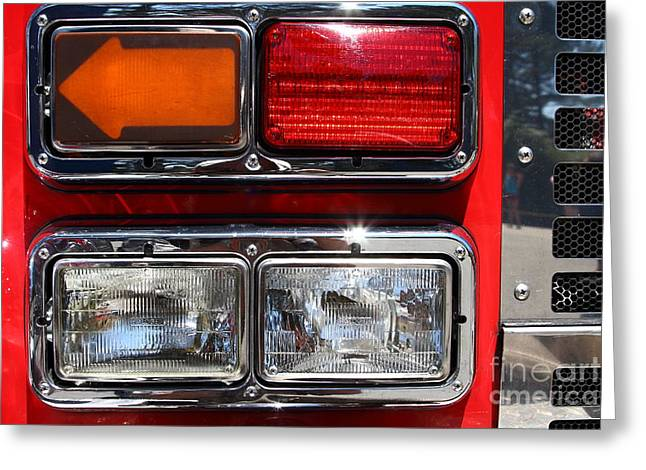Kensington Greeting Cards - Kensington Fire District Fire Engine Light Cluster . 7D15882 Greeting Card by Wingsdomain Art and Photography