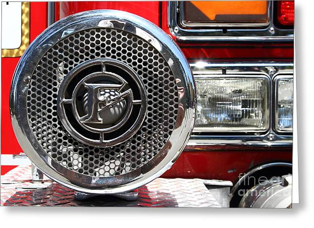 Kensington Greeting Cards - Kensington Fire District Fire Engine Siren . 7D15880 Greeting Card by Wingsdomain Art and Photography
