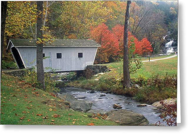 Connecticut Covered Bridge Greeting Cards - Kent Falls Covered Bridge Greeting Card by John Burk