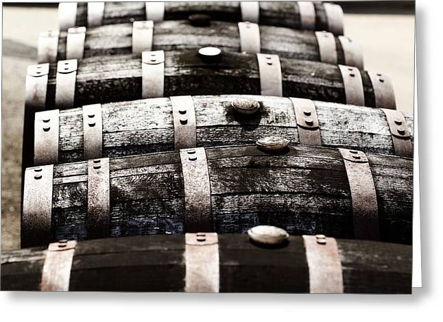 Rusted Barrels Greeting Cards - Kentucky Bourbon Barrels Greeting Card by Robert Glover
