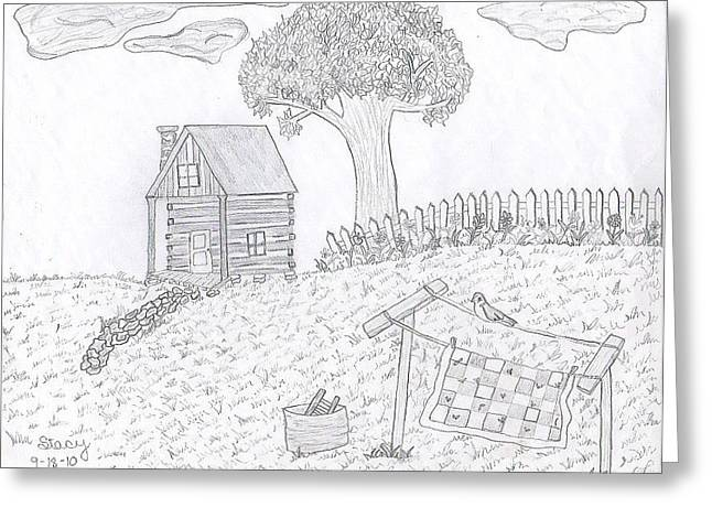 Old Washboards Drawings Greeting Cards - Kentucky cabin Greeting Card by Stacy Thornberry