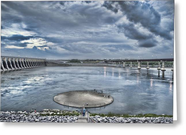 Cloud Reflections In Water Greeting Cards - Kentucky Dam Dusk Greeting Card by Jim Pearson