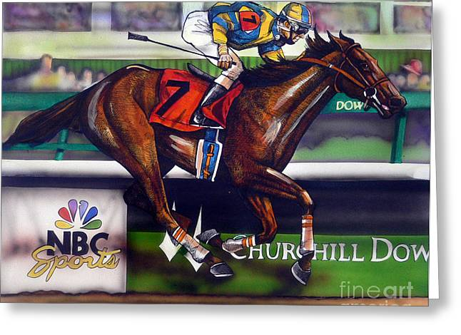 Horses Drawings Greeting Cards - Kentucky Derby Winner Street Sense Greeting Card by Dave Olsen