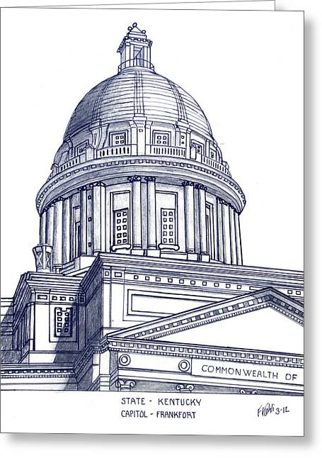 Pen And Ink Framed Prints Mixed Media Greeting Cards - Kentucky State Capitol Greeting Card by Frederic Kohli