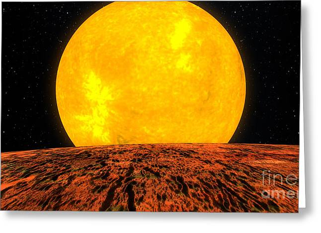 Exoplanet Greeting Cards - Kepler-10b In Front Of Parent Star Greeting Card by NASA/Science Source